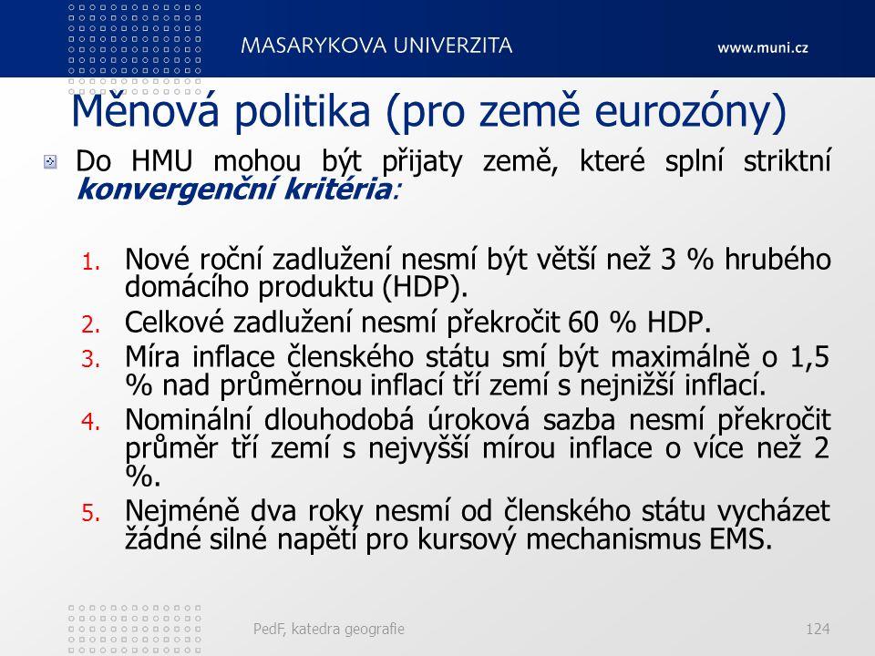 Měnová politika (pro země eurozóny) Do HMU mohou být přijaty země, které splní striktní konvergenční kritéria: 1. Nové roční zadlužení nesmí být větší