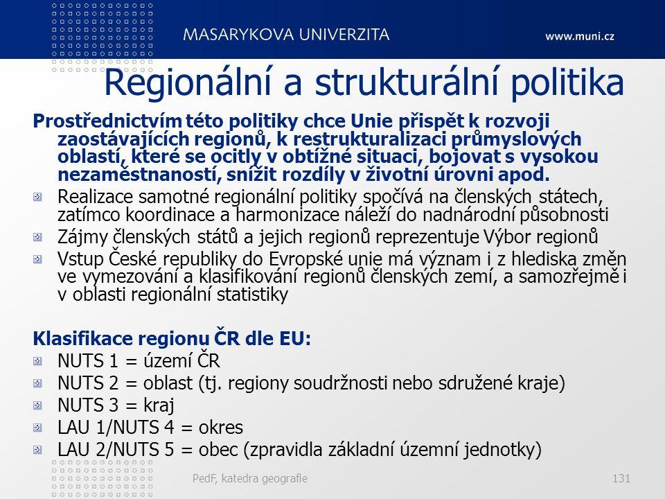 Regionální a strukturální politika Prostřednictvím této politiky chce Unie přispět k rozvoji zaostávajících regionů, k restrukturalizaci průmyslových oblastí, které se ocitly v obtížné situaci, bojovat s vysokou nezaměstnaností, snížit rozdíly v životní úrovni apod.