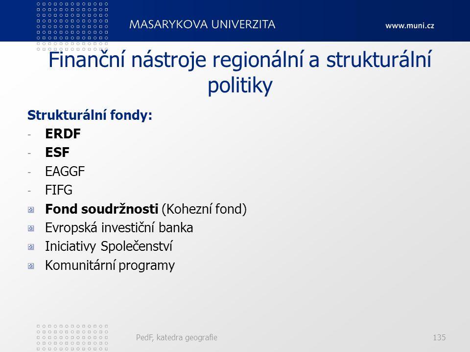 Finanční nástroje regionální a strukturální politiky Strukturální fondy: - ERDF - ESF - EAGGF - FIFG Fond soudržnosti (Kohezní fond) Evropská investiční banka Iniciativy Společenství Komunitární programy PedF, katedra geografie135