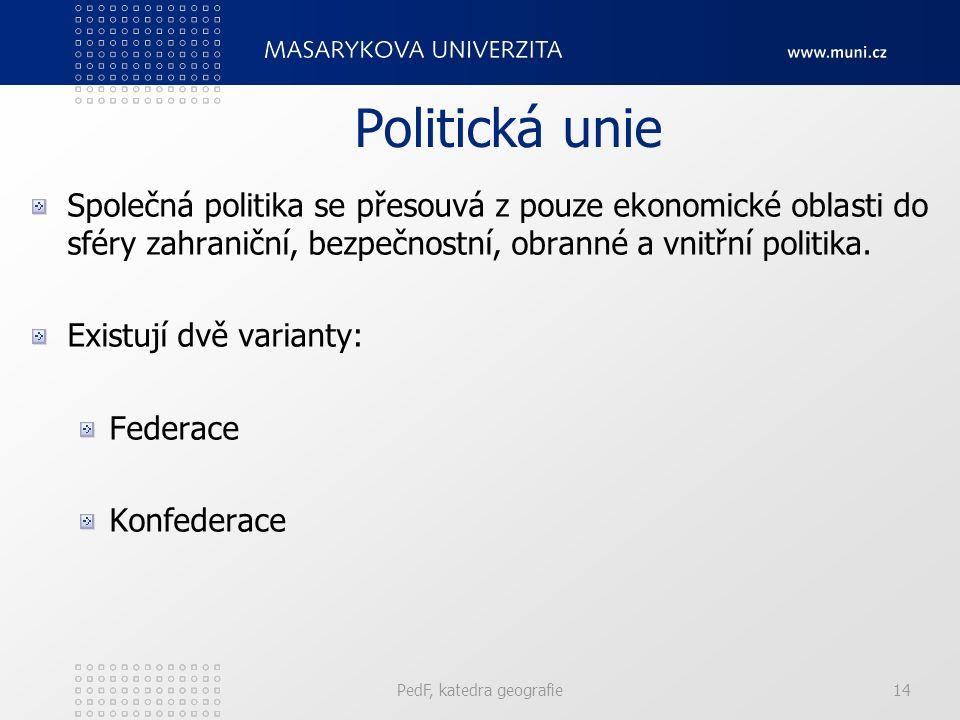 Politická unie Společná politika se přesouvá z pouze ekonomické oblasti do sféry zahraniční, bezpečnostní, obranné a vnitřní politika. Existují dvě va