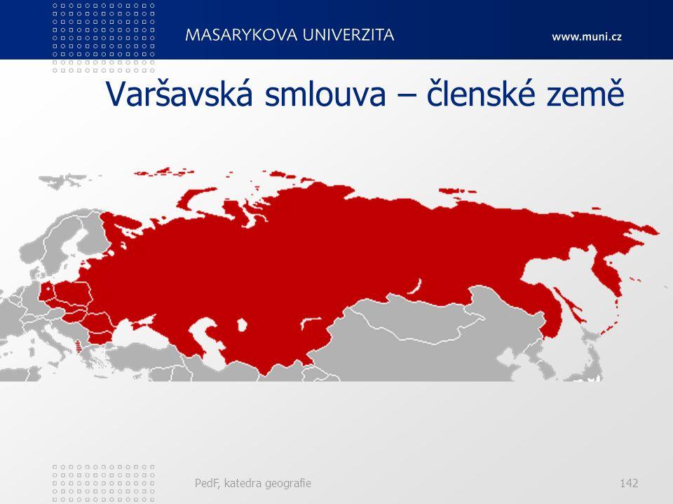 Varšavská smlouva – členské země PedF, katedra geografie142