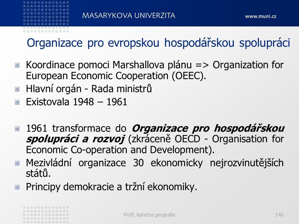 Organizace pro evropskou hospodářskou spolupráci Koordinace pomoci Marshallova plánu => Organization for European Economic Cooperation (OEEC). Hlavní