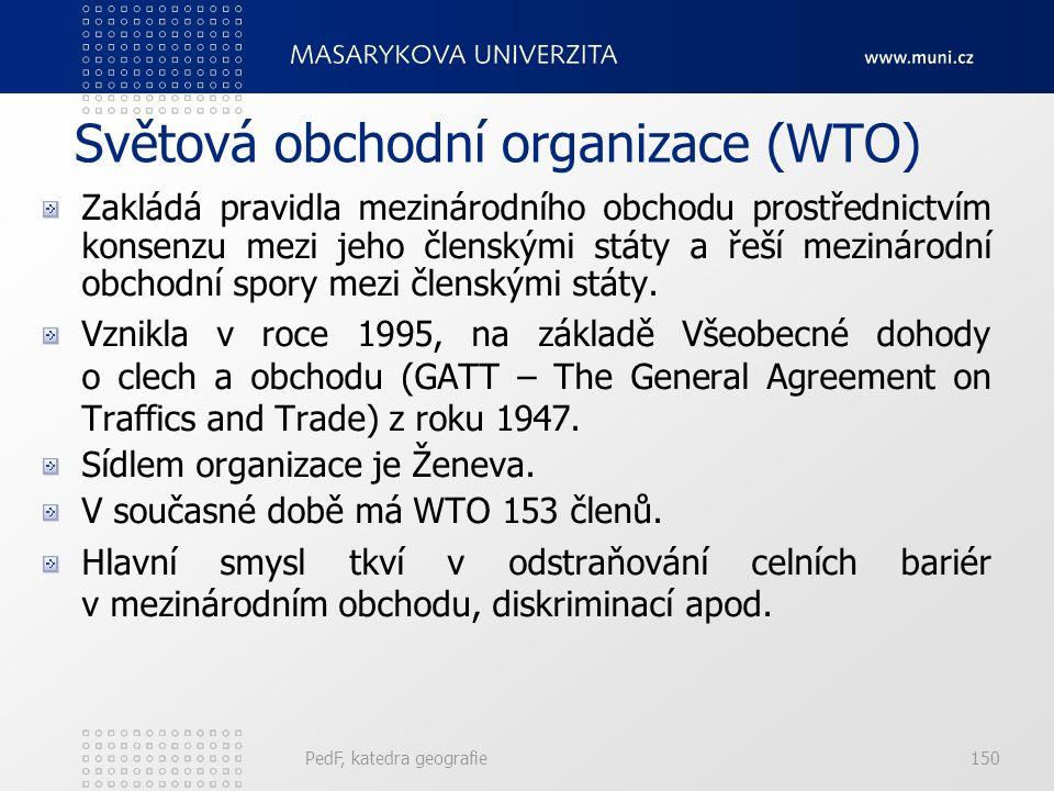 Světová obchodní organizace (WTO) Zakládá pravidla mezinárodního obchodu prostřednictvím konsenzu mezi jeho členskými státy a řeší mezinárodní obchodn
