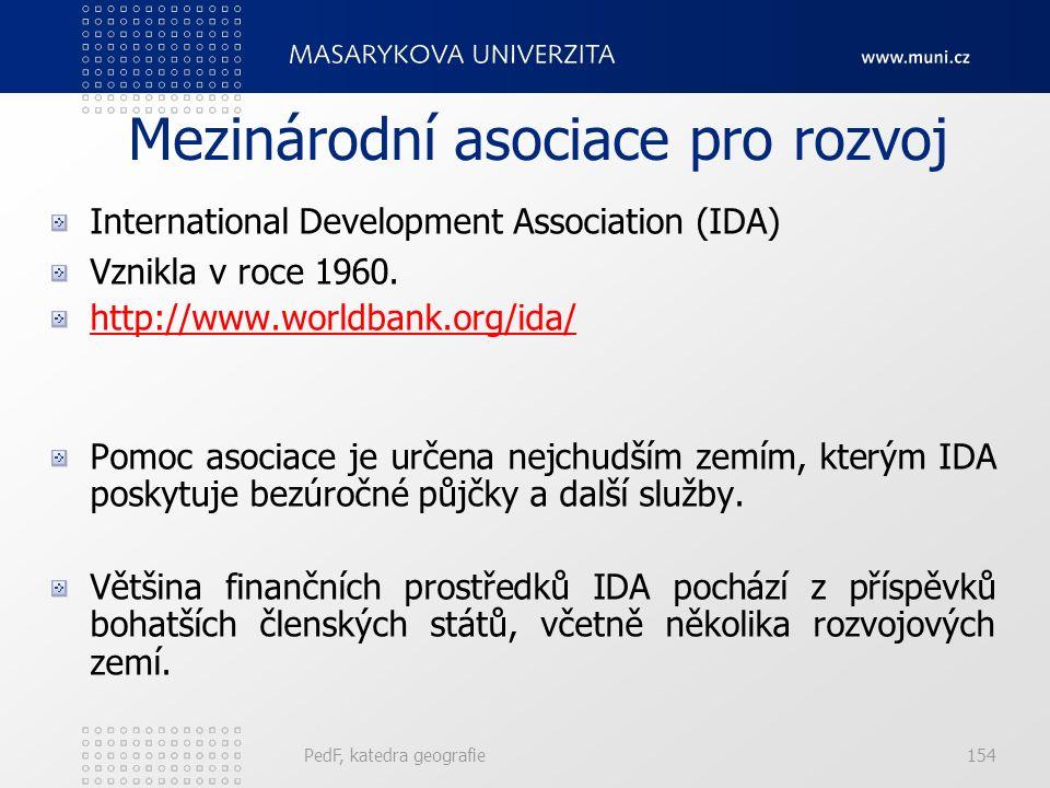 Mezinárodní asociace pro rozvoj International Development Association (IDA) Vznikla v roce 1960. http://www.worldbank.org/ida/ Pomoc asociace je určen