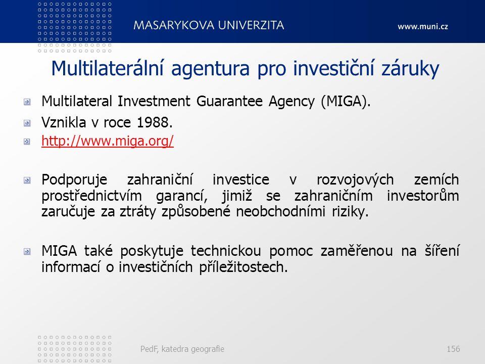 Multilaterální agentura pro investiční záruky Multilateral Investment Guarantee Agency (MIGA). Vznikla v roce 1988. http://www.miga.org/ Podporuje zah