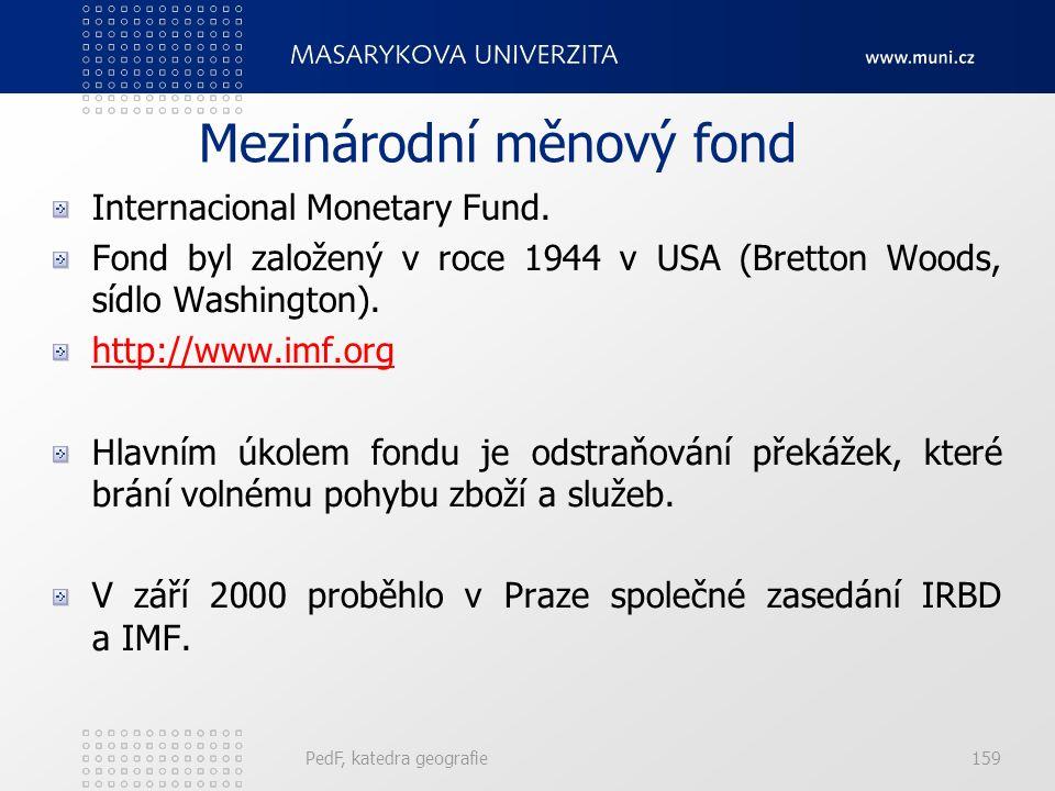 Mezinárodní měnový fond Internacional Monetary Fund. Fond byl založený v roce 1944 v USA (Bretton Woods, sídlo Washington). http://www.imf.org Hlavním