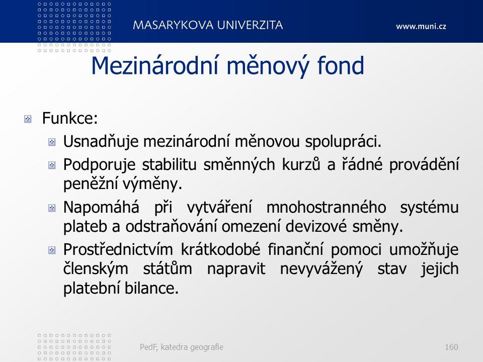Mezinárodní měnový fond Funkce: Usnadňuje mezinárodní měnovou spolupráci.