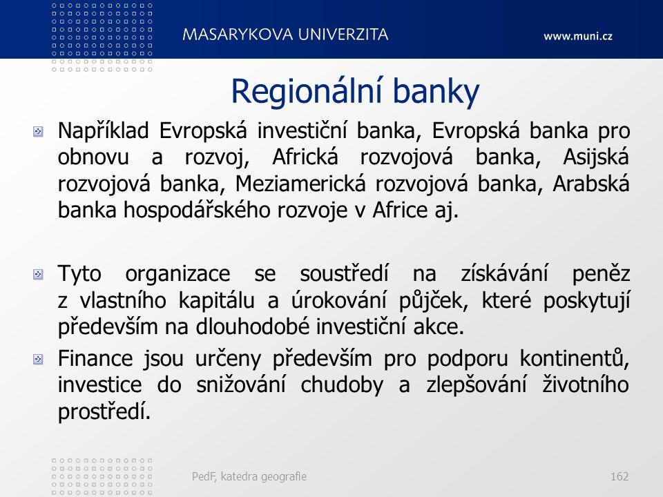 Regionální banky Například Evropská investiční banka, Evropská banka pro obnovu a rozvoj, Africká rozvojová banka, Asijská rozvojová banka, Meziamerická rozvojová banka, Arabská banka hospodářského rozvoje v Africe aj.