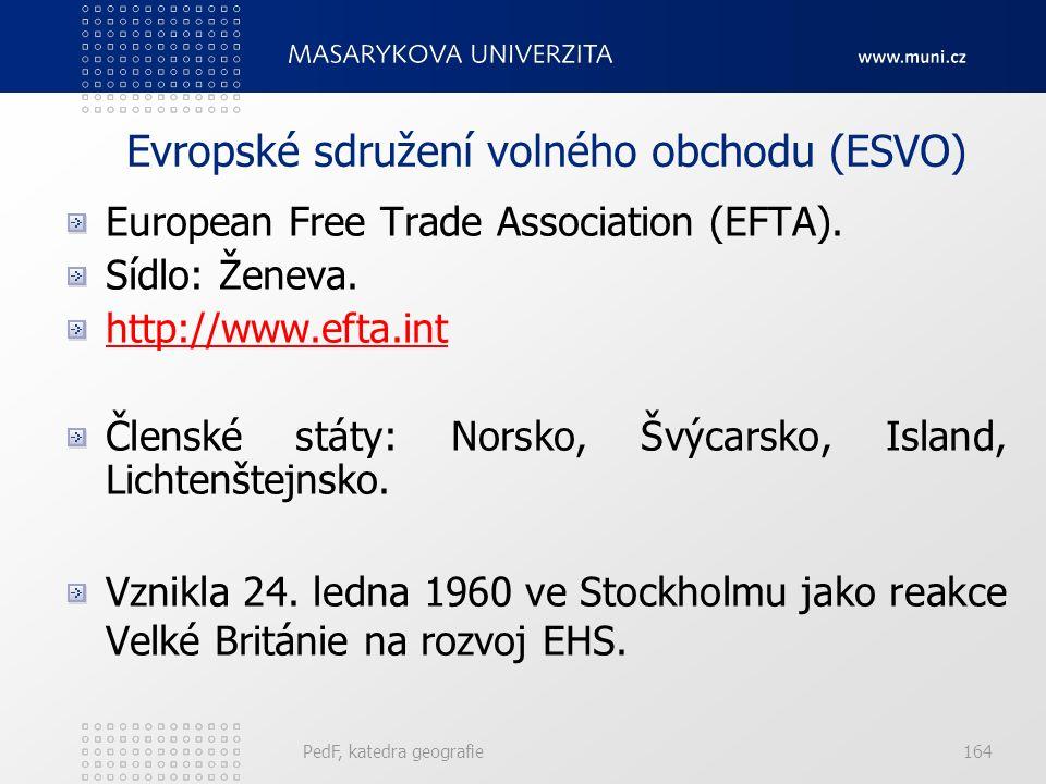 Evropské sdružení volného obchodu (ESVO) European Free Trade Association (EFTA). Sídlo: Ženeva. http://www.efta.int Členské státy: Norsko, Švýcarsko,