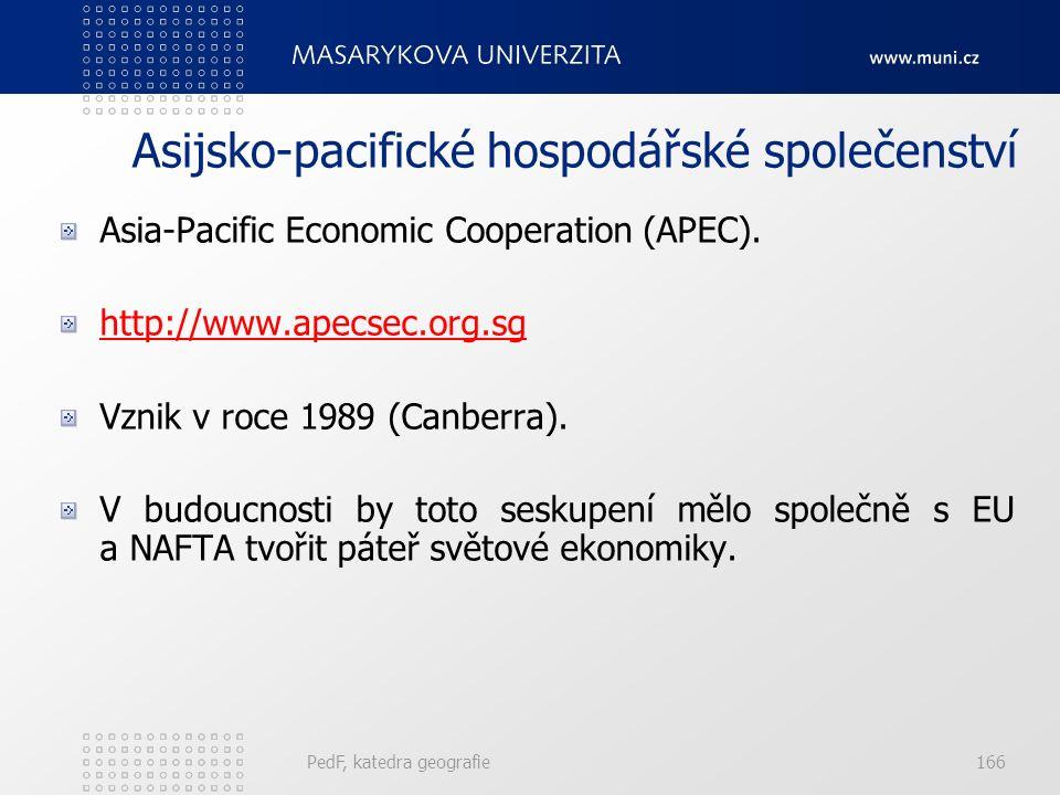 Asijsko-pacifické hospodářské společenství Asia-Pacific Economic Cooperation (APEC). http://www.apecsec.org.sg Vznik v roce 1989 (Canberra). V budoucn