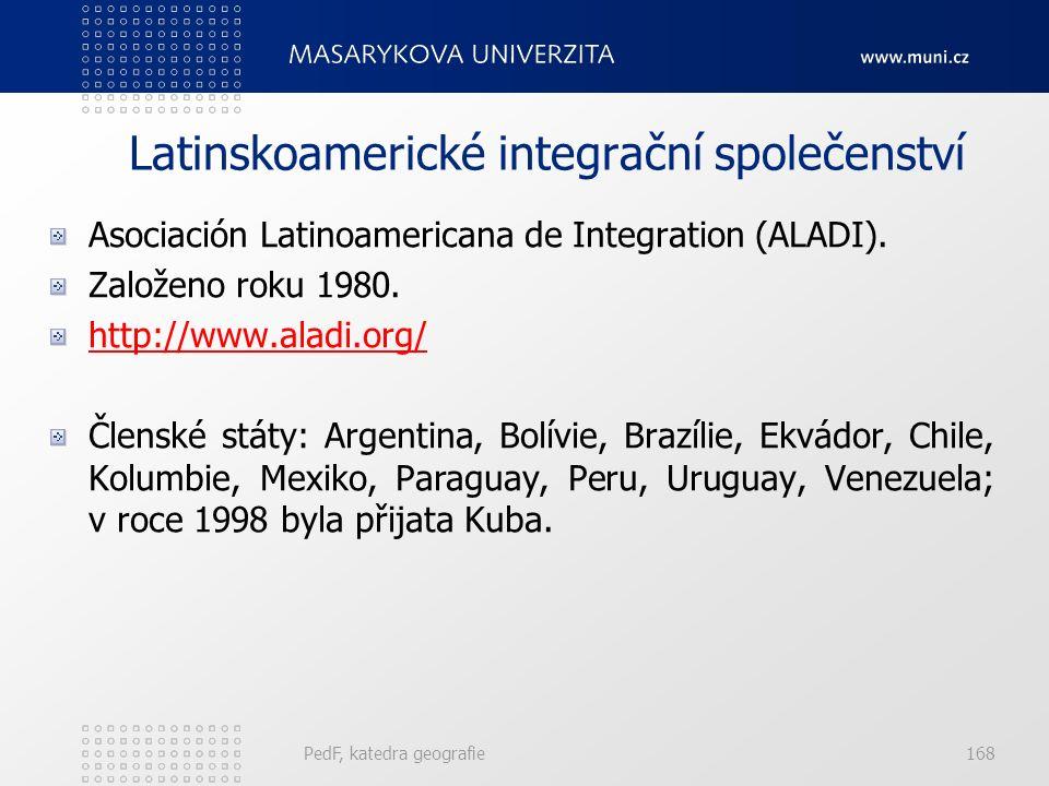 Latinskoamerické integrační společenství Asociación Latinoamericana de Integration (ALADI). Založeno roku 1980. http://www.aladi.org/ Členské státy: A
