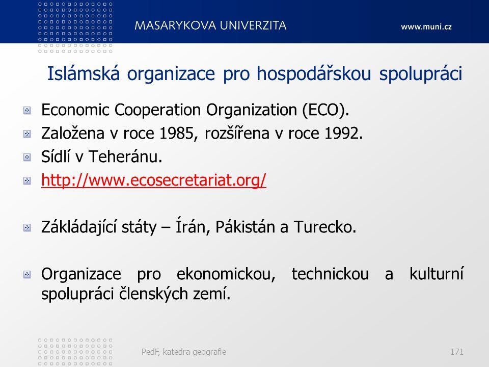 Islámská organizace pro hospodářskou spolupráci Economic Cooperation Organization (ECO). Založena v roce 1985, rozšířena v roce 1992. Sídlí v Teheránu