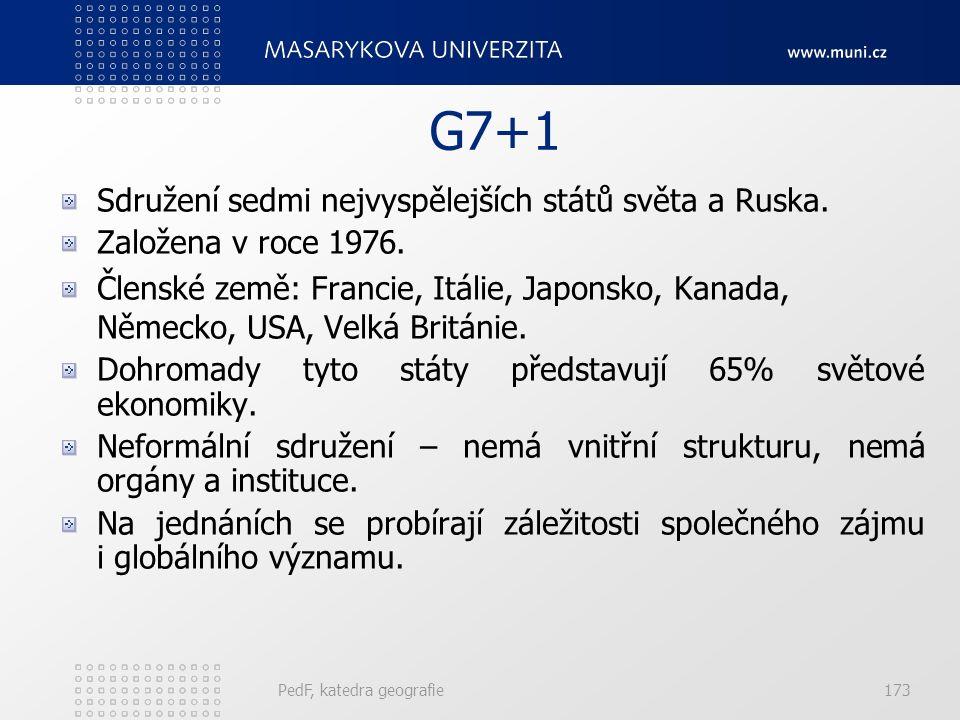 G7+1 Sdružení sedmi nejvyspělejších států světa a Ruska. Založena v roce 1976. Členské země: Francie, Itálie, Japonsko, Kanada, Německo, USA, Velká Br