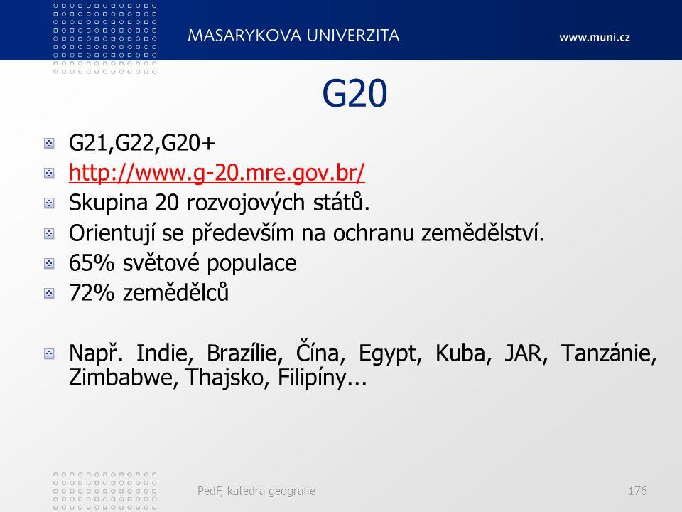 G20 G21,G22,G20+ http://www.g-20.mre.gov.br/ Skupina 20 rozvojových států. Orientují se především na ochranu zemědělství. 65% světové populace 72% zem