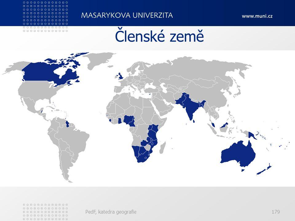 Členské země PedF, katedra geografie179
