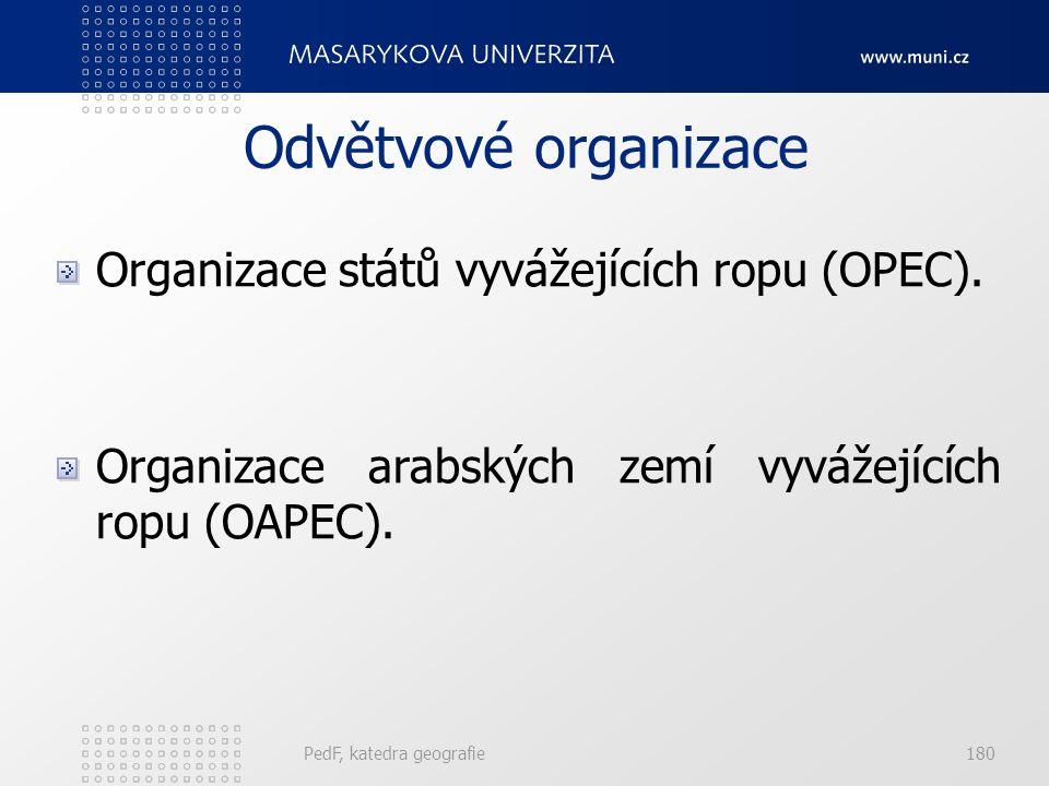 Odvětvové organizace Organizace států vyvážejících ropu (OPEC). Organizace arabských zemí vyvážejících ropu (OAPEC). PedF, katedra geografie180