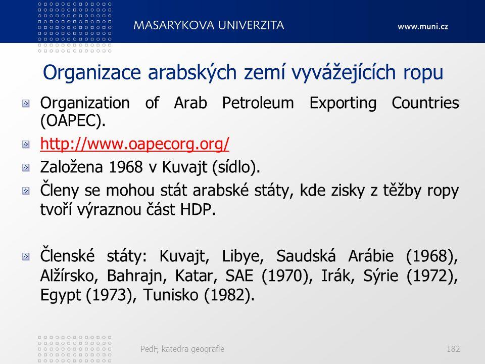 Organizace arabských zemí vyvážejících ropu Organization of Arab Petroleum Exporting Countries (OAPEC). http://www.oapecorg.org/ Založena 1968 v Kuvaj