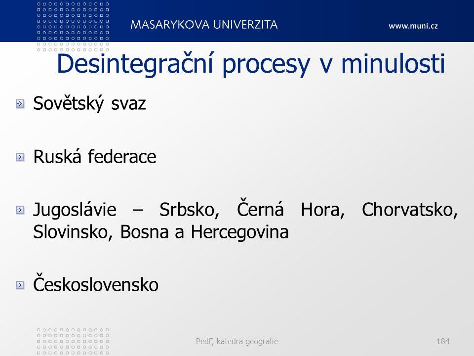 Desintegrační procesy v minulosti Sovětský svaz Ruská federace Jugoslávie – Srbsko, Černá Hora, Chorvatsko, Slovinsko, Bosna a Hercegovina Československo PedF, katedra geografie184