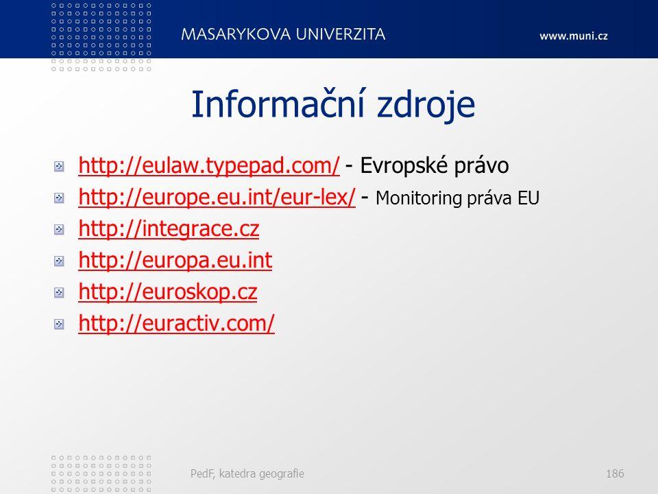 Informační zdroje http://eulaw.typepad.com/http://eulaw.typepad.com/ - Evropské právo http://europe.eu.int/eur-lex/http://europe.eu.int/eur-lex/ - Monitoring práva EU http://integrace.cz http://europa.eu.int http://euroskop.cz http://euractiv.com/ PedF, katedra geografie186