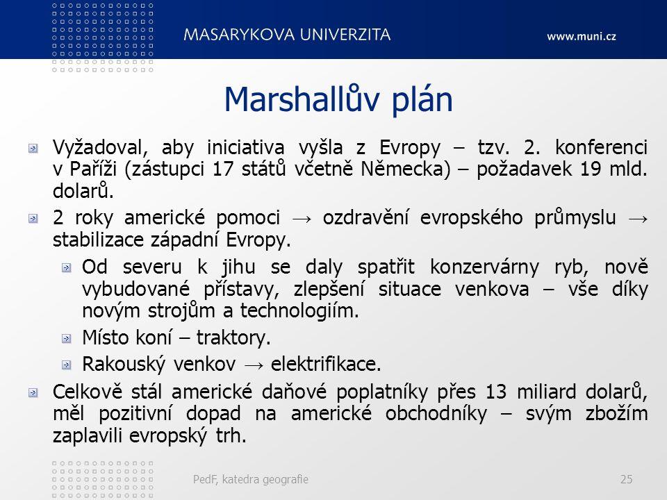 Marshallův plán Vyžadoval, aby iniciativa vyšla z Evropy – tzv. 2. konferenci v Paříži (zástupci 17 států včetně Německa) – požadavek 19 mld. dolarů.