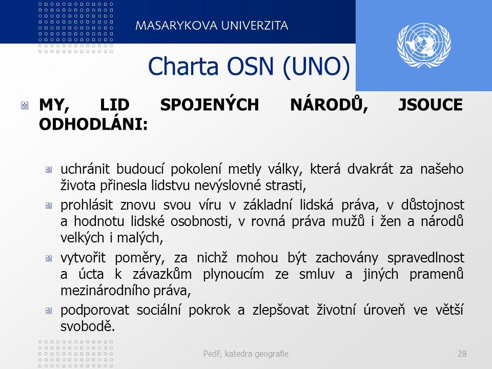 Charta OSN (UNO) MY, LID SPOJENÝCH NÁRODŮ, JSOUCE ODHODLÁNI: uchránit budoucí pokolení metly války, která dvakrát za našeho života přinesla lidstvu ne