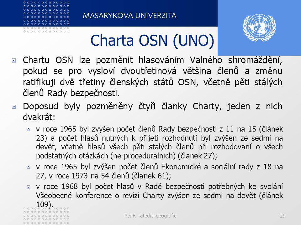 Charta OSN (UNO) Chartu OSN lze pozměnit hlasováním Valného shromáždění, pokud se pro vysloví dvoutřetinová většina členů a změnu ratifikuji dvě třetiny členských států OSN, včetně pěti stálých členů Rady bezpečnosti.
