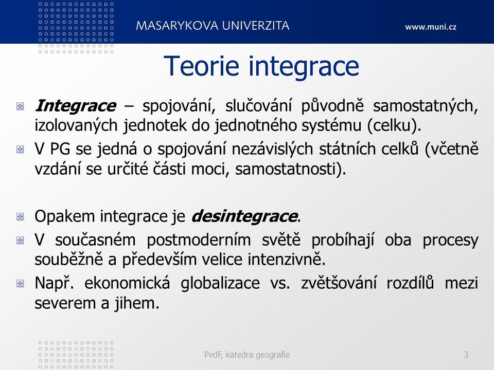 Teorie integrace Integrace – spojování, slučování původně samostatných, izolovaných jednotek do jednotného systému (celku). V PG se jedná o spojování