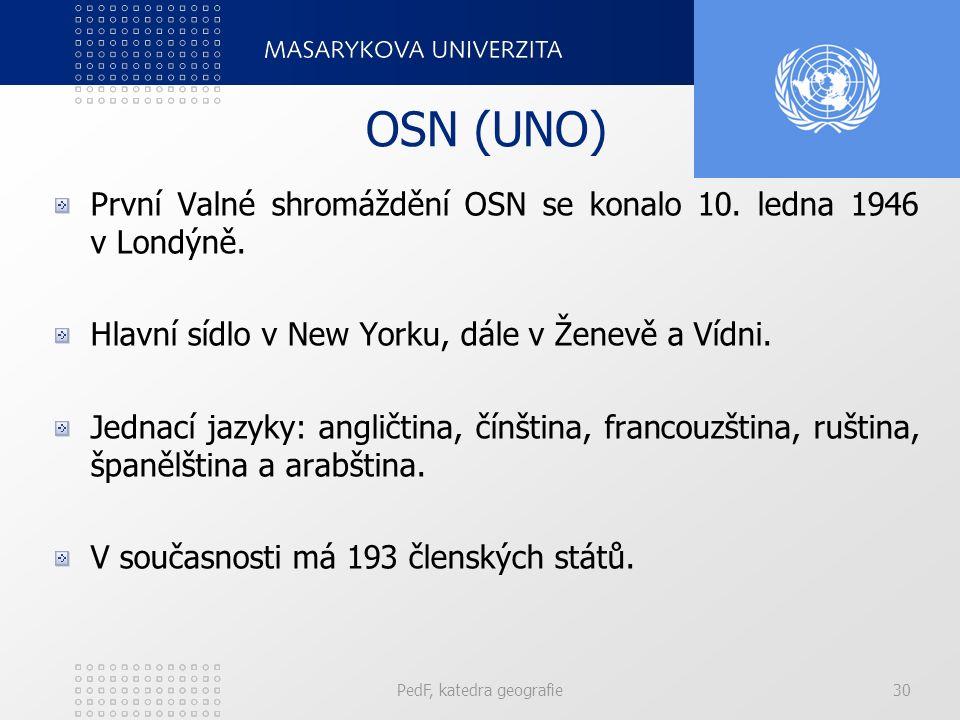 OSN (UNO) První Valné shromáždění OSN se konalo 10. ledna 1946 v Londýně. Hlavní sídlo v New Yorku, dále v Ženevě a Vídni. Jednací jazyky: angličtina,