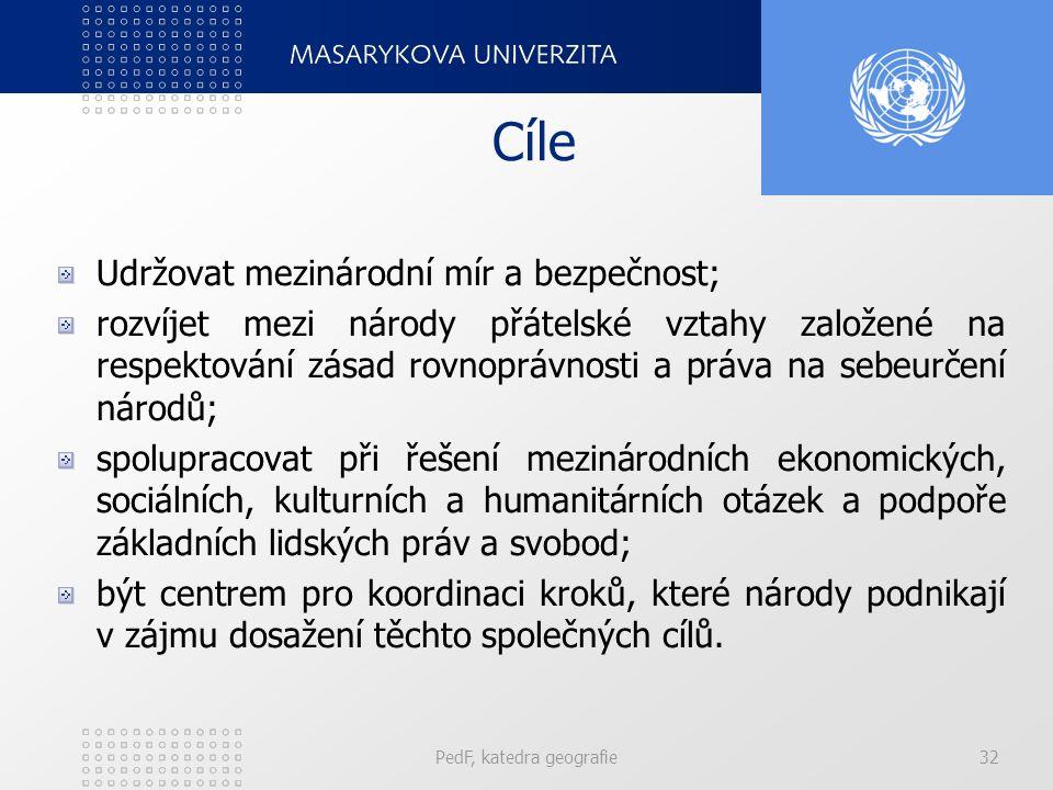 Cíle Udržovat mezinárodní mír a bezpečnost; rozvíjet mezi národy přátelské vztahy založené na respektování zásad rovnoprávnosti a práva na sebeurčení