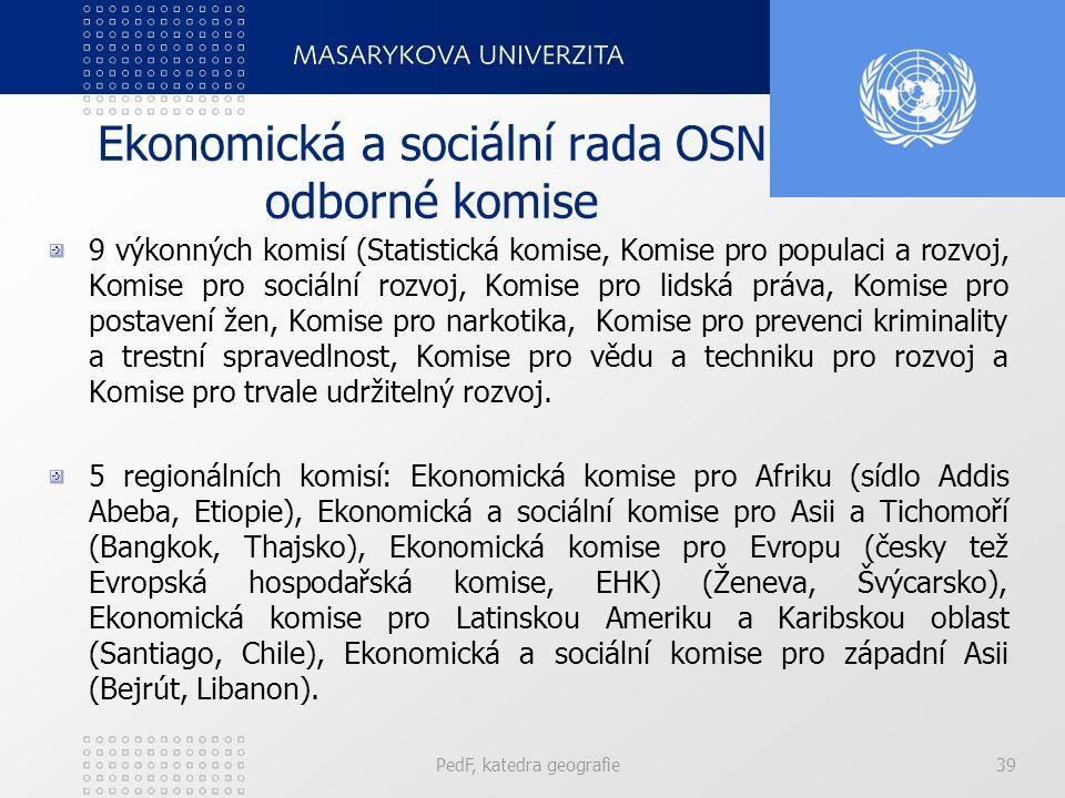Ekonomická a sociální rada OSN odborné komise 9 výkonných komisí (Statistická komise, Komise pro populaci a rozvoj, Komise pro sociální rozvoj, Komise pro lidská práva, Komise pro postavení žen, Komise pro narkotika, Komise pro prevenci kriminality a trestní spravedlnost, Komise pro vědu a techniku pro rozvoj a Komise pro trvale udržitelný rozvoj.