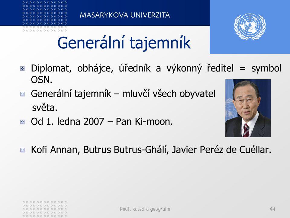 Generální tajemník Diplomat, obhájce, úředník a výkonný ředitel = symbol OSN. Generální tajemník – mluvčí všech obyvatel světa. Od 1. ledna 2007 – Pan