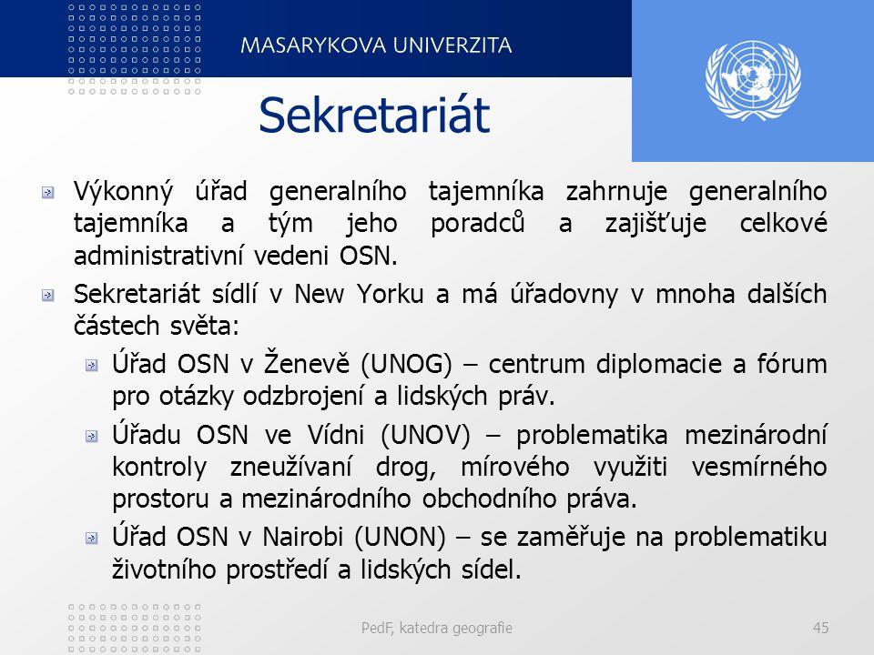 Sekretariát Výkonný úřad generalního tajemníka zahrnuje generalního tajemníka a tým jeho poradců a zajišťuje celkové administrativní vedeni OSN. Sekre