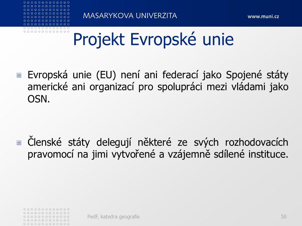Projekt Evropské unie Evropská unie (EU) není ani federací jako Spojené státy americké ani organizací pro spolupráci mezi vládami jako OSN. Členské st