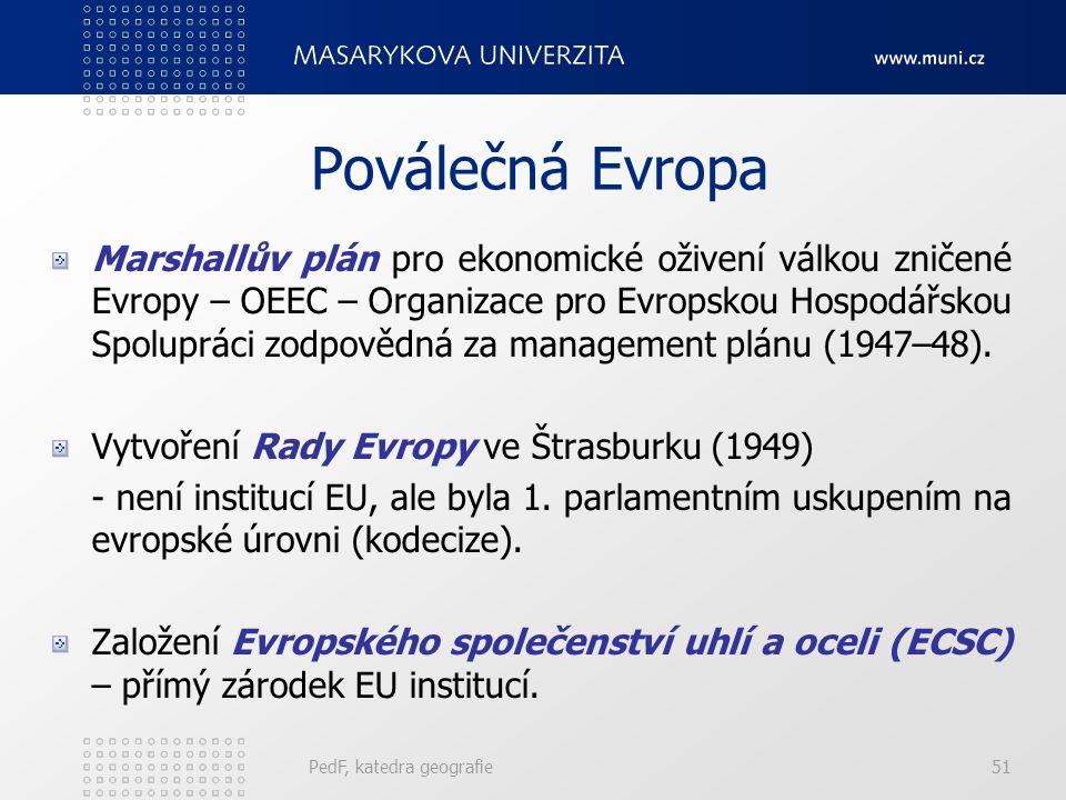 Poválečná Evropa Marshallův plán pro ekonomické oživení válkou zničené Evropy – OEEC – Organizace pro Evropskou Hospodářskou Spolupráci zodpovědná za management plánu (1947–48).