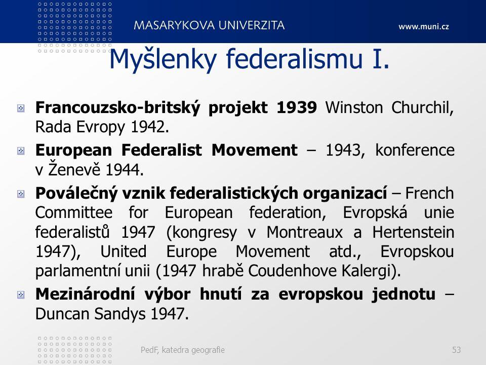 Myšlenky federalismu I. Francouzsko-britský projekt 1939 Winston Churchil, Rada Evropy 1942. European Federalist Movement – 1943, konference v Ženevě