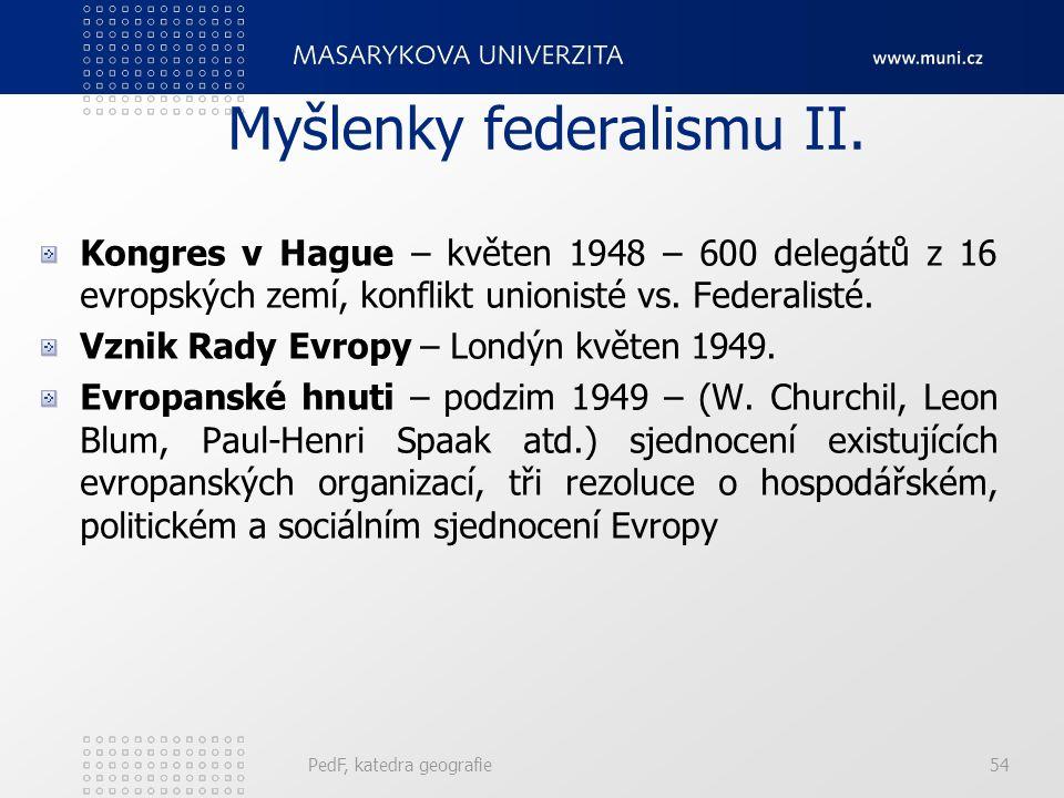 Myšlenky federalismu II. Kongres v Hague – květen 1948 – 600 delegátů z 16 evropských zemí, konflikt unionisté vs. Federalisté. Vznik Rady Evropy – Lo