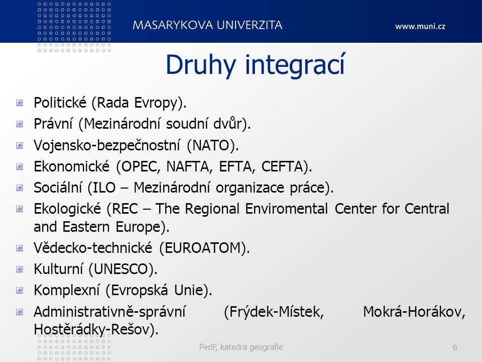 Druhy integrací Politické (Rada Evropy). Právní (Mezinárodní soudní dvůr). Vojensko-bezpečnostní (NATO). Ekonomické (OPEC, NAFTA, EFTA, CEFTA). Sociál