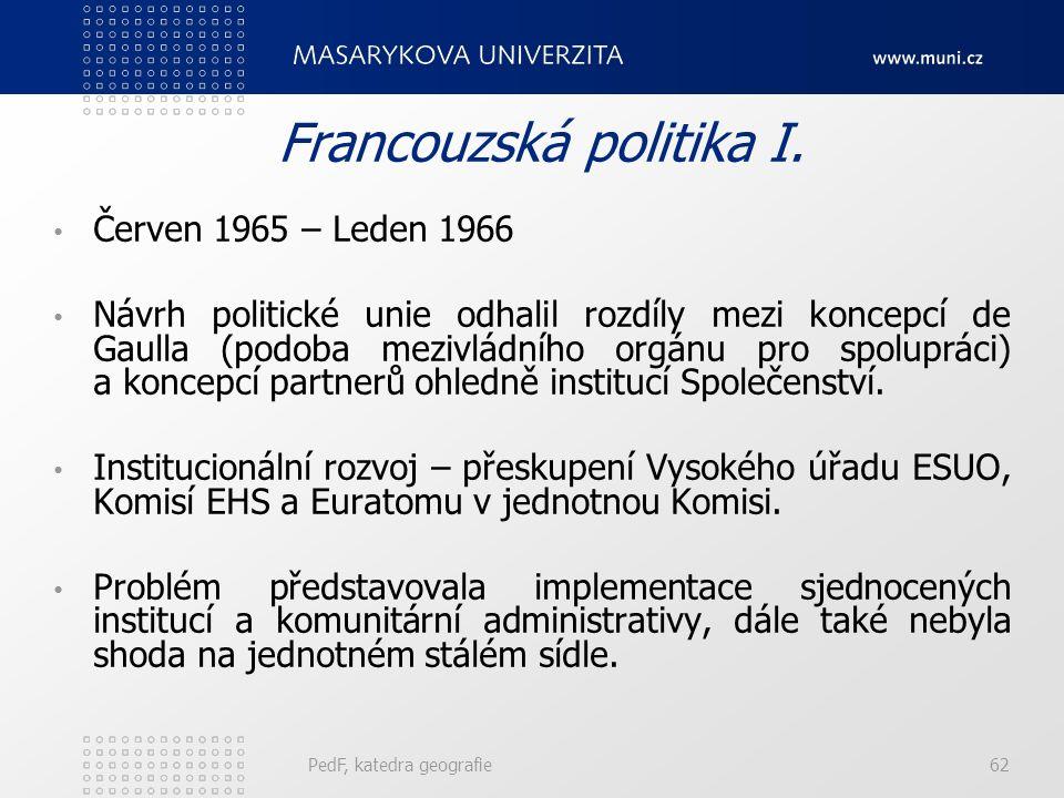 Francouzská politika I. Červen 1965 – Leden 1966 Návrh politické unie odhalil rozdíly mezi koncepcí de Gaulla (podoba mezivládního orgánu pro spoluprá