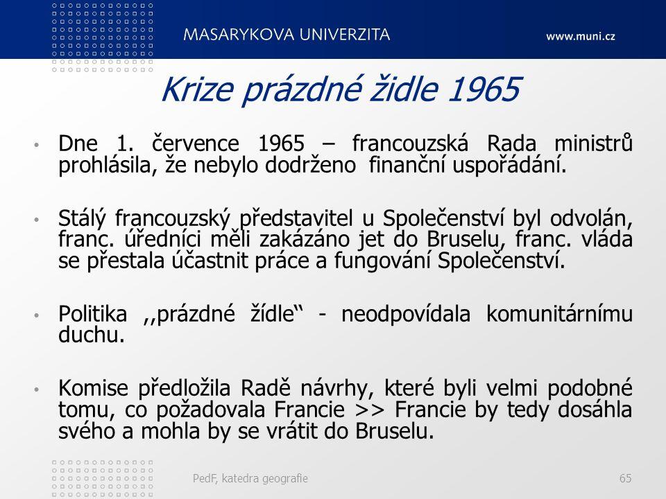 Krize prázdné židle 1965 Dne 1. července 1965 – francouzská Rada ministrů prohlásila, že nebylo dodrženo finanční uspořádání. Stálý francouzský předst
