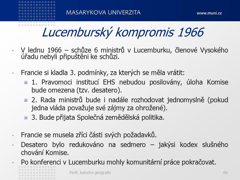 Lucemburský kompromis 1966 V lednu 1966 – schůze 6 ministrů v Lucemburku, členové Vysokého úřadu nebyli připuštěni ke schůzi. Francie si kladla 3. pod