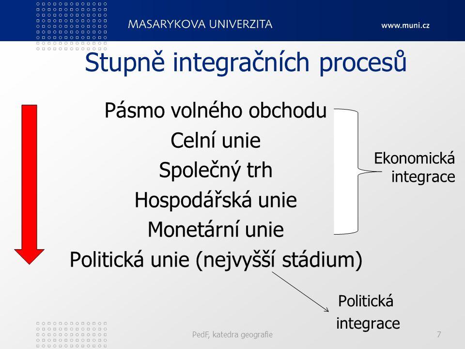 Stupně integračních procesů Pásmo volného obchodu Celní unie Společný trh Hospodářská unie Monetární unie Politická unie (nejvyšší stádium) PedF, katedra geografie7 Ekonomická integrace Politická integrace