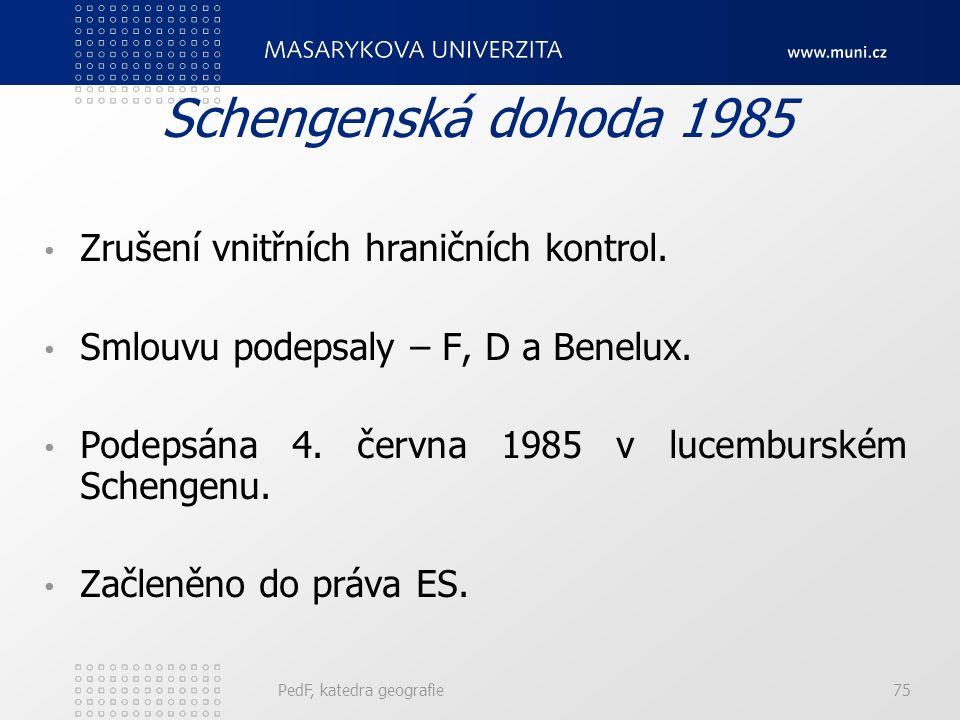 Schengenská dohoda 1985 Zrušení vnitřních hraničních kontrol. Smlouvu podepsaly – F, D a Benelux. Podepsána 4. června 1985 v lucemburském Schengenu. Z