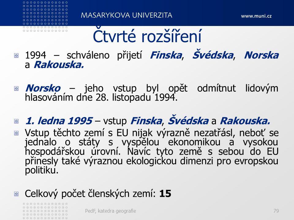 Čtvrté rozšíření 1994 – schváleno přijetí Finska, Švédska, Norska a Rakouska.