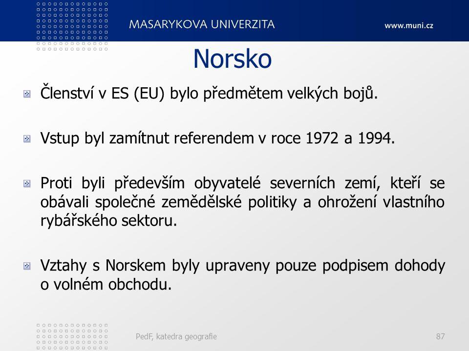 Norsko Členství v ES (EU) bylo předmětem velkých bojů. Vstup byl zamítnut referendem v roce 1972 a 1994. Proti byli především obyvatelé severních zemí