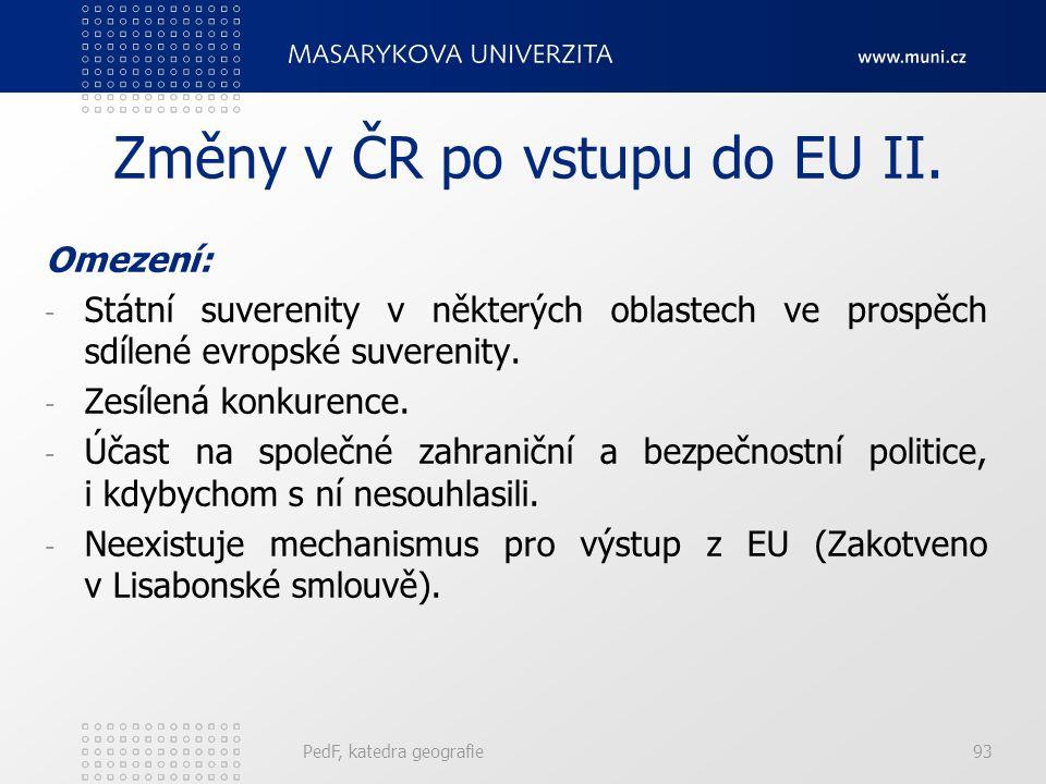 Změny v ČR po vstupu do EU II.