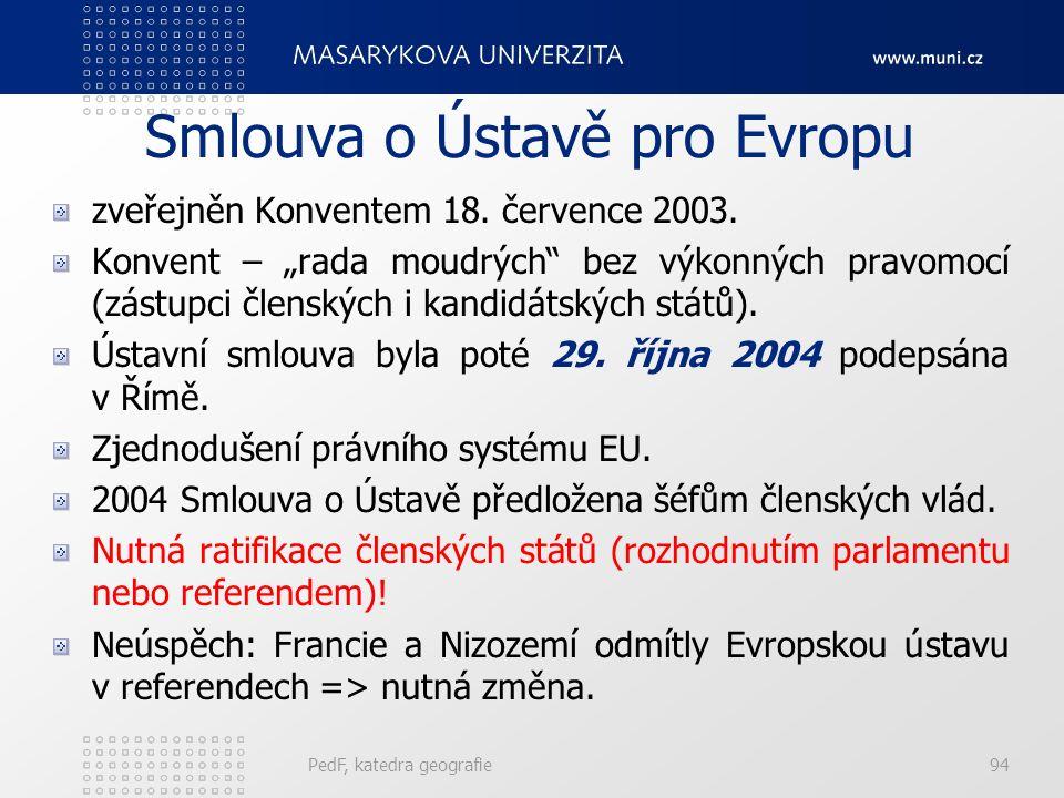 """Smlouva o Ústavě pro Evropu zveřejněn Konventem 18. července 2003. Konvent – """"rada moudrých"""" bez výkonných pravomocí (zástupci členských i kandidátský"""