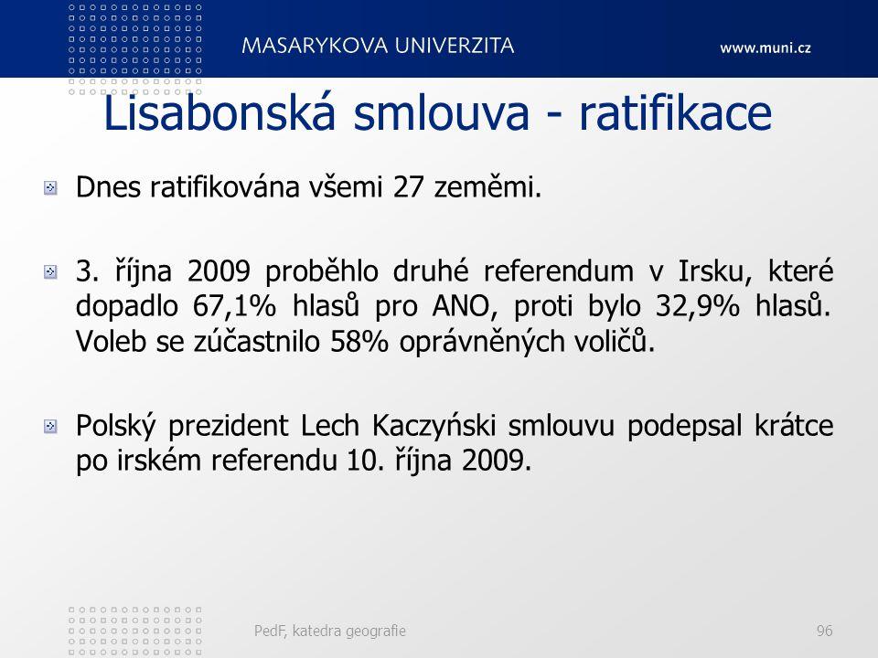 Lisabonská smlouva - ratifikace Dnes ratifikována všemi 27 zeměmi. 3. října 2009 proběhlo druhé referendum v Irsku, které dopadlo 67,1% hlasů pro ANO,