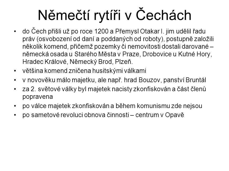 Němečtí rytíři v Čechách do Čech přišli už po roce 1200 a Přemysl Otakar I. jim udělil řadu práv (osvobození od daní a poddaných od roboty), postupně