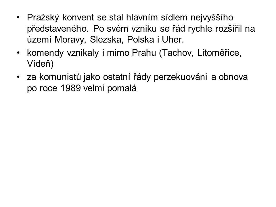 Pražský konvent se stal hlavním sídlem nejvyššího představeného. Po svém vzniku se řád rychle rozšířil na území Moravy, Slezska, Polska i Uher. komend