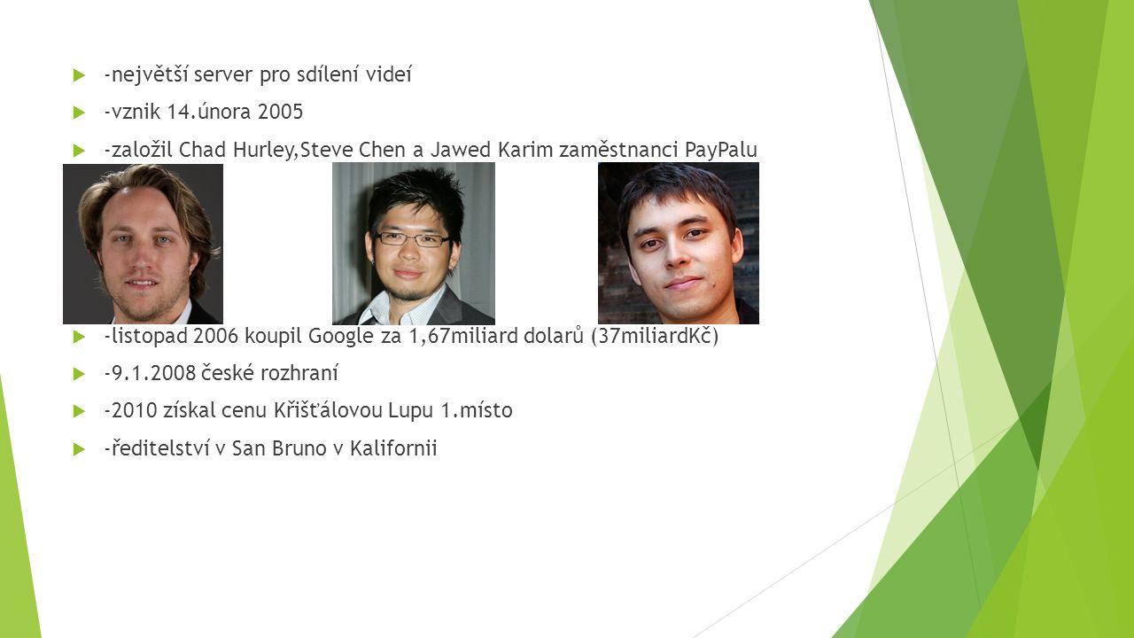  -největší server pro sdílení videí  -vznik 14.února 2005  -založil Chad Hurley,Steve Chen a Jawed Karim zaměstnanci PayPalu  -listopad 2006 koupil Google za 1,67miliard dolarů (37miliardKč)  -9.1.2008 české rozhraní  -2010 získal cenu Křišťálovou Lupu 1.místo  -ředitelství v San Bruno v Kalifornii